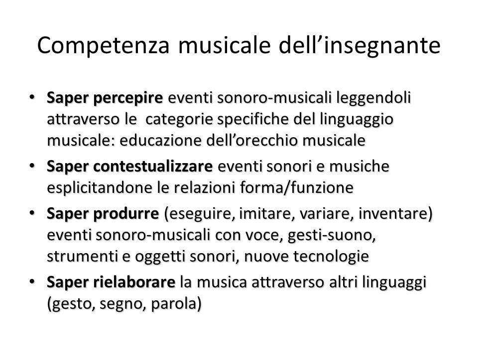 Competenza musicale dellinsegnante Saper percepire eventi sonoro-musicali leggendoli attraverso le categorie specifiche del linguaggio musicale: educa