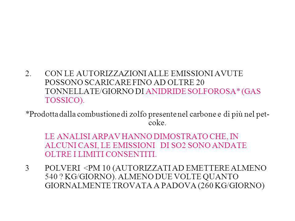 2.CON LE AUTORIZZAZIONI ALLE EMISSIONI AVUTE POSSONO SCARICARE FINO AD OLTRE 20 TONNELLATE/GIORNO DI ANIDRIDE SOLFOROSA* (GAS TOSSICO). *Prodotta dall