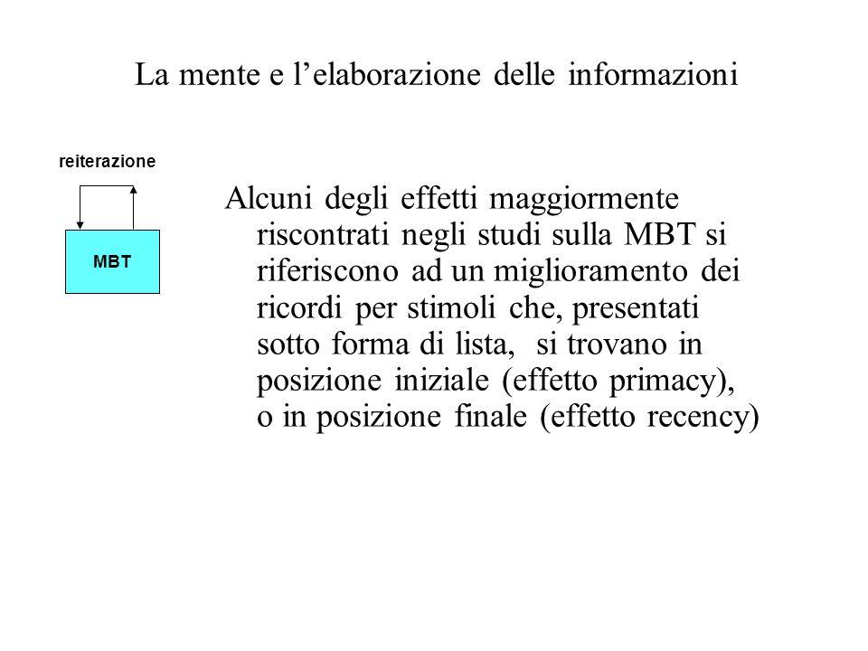 La mente e lelaborazione delle informazioni Alcuni degli effetti maggiormente riscontrati negli studi sulla MBT si riferiscono ad un miglioramento dei