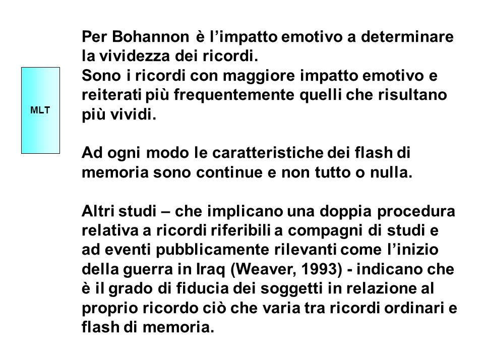 Per Bohannon è limpatto emotivo a determinare la vividezza dei ricordi. Sono i ricordi con maggiore impatto emotivo e reiterati più frequentemente que