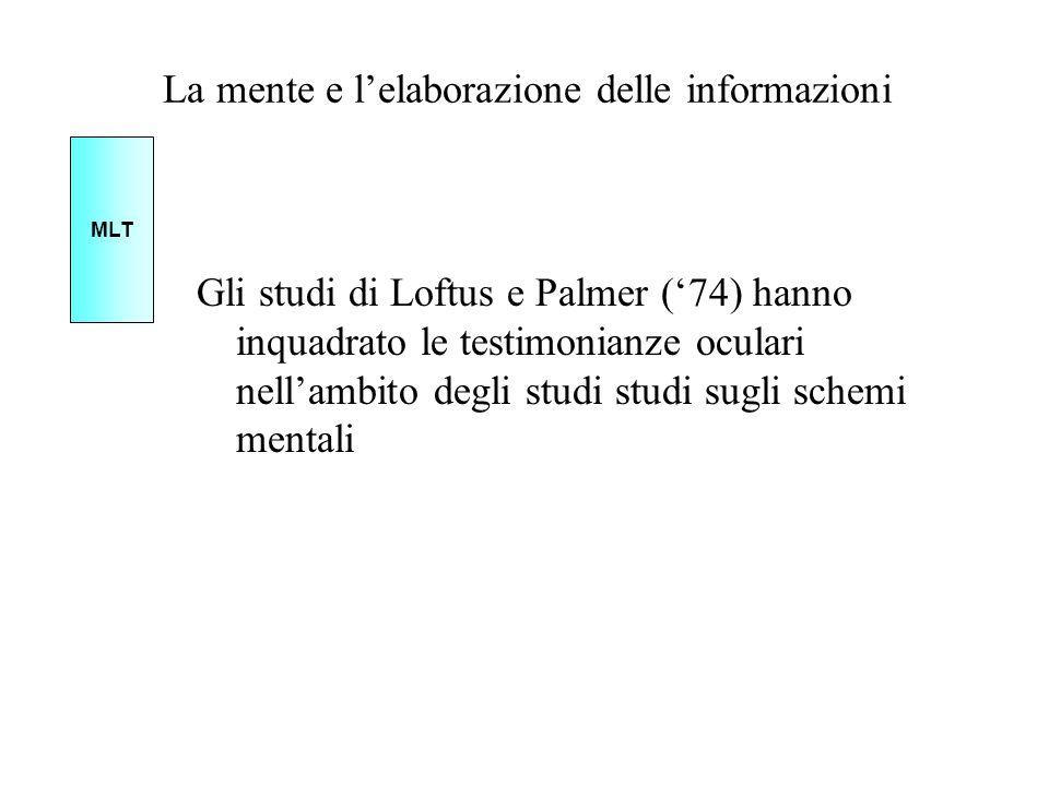La mente e lelaborazione delle informazioni Gli studi di Loftus e Palmer (74) hanno inquadrato le testimonianze oculari nellambito degli studi studi s
