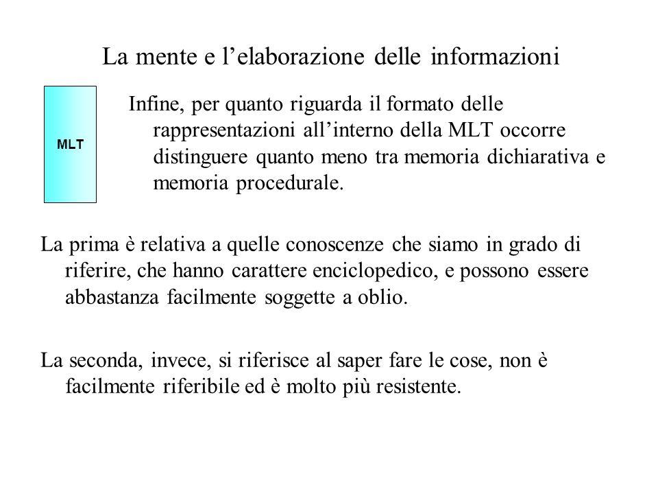 La mente e lelaborazione delle informazioni Infine, per quanto riguarda il formato delle rappresentazioni allinterno della MLT occorre distinguere qua
