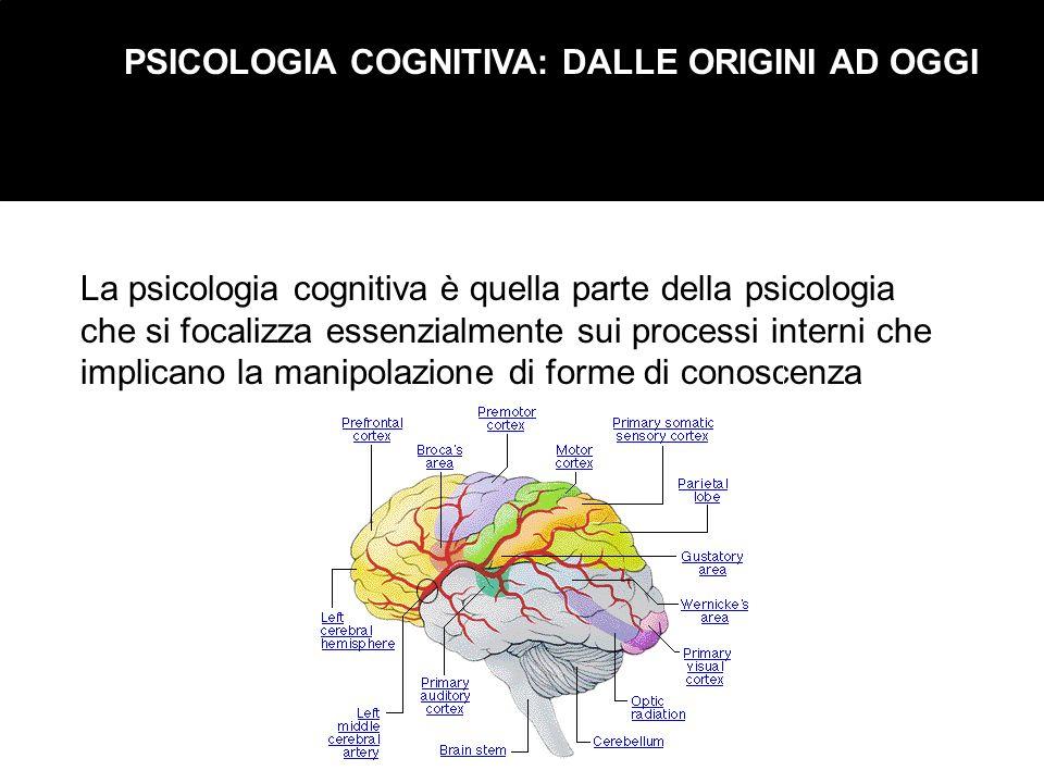 PSICOLOGIA COGNITIVA: DALLE ORIGINI AD OGGI La psicologia cognitiva è quella parte della psicologia che si focalizza essenzialmente sui processi inter
