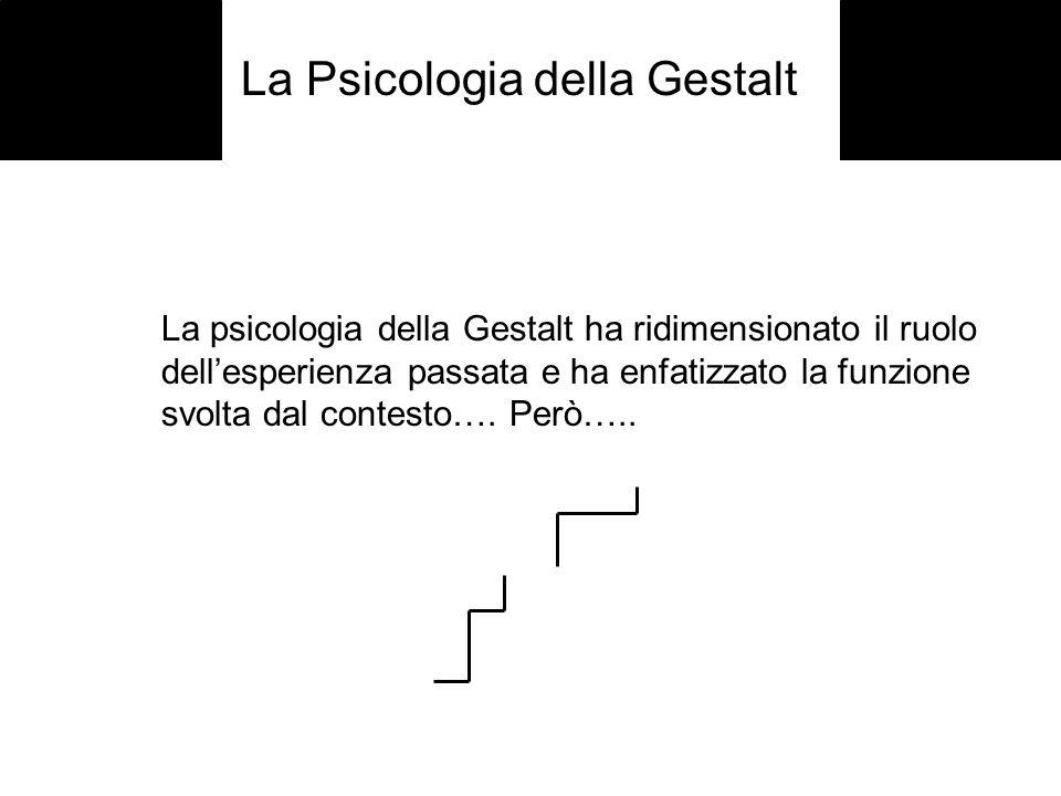 La psicologia della Gestalt ha ridimensionato il ruolo dellesperienza passata e ha enfatizzato la funzione svolta dal contesto…. Però…..