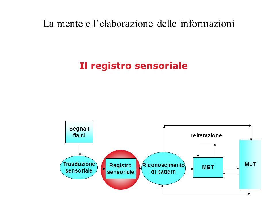Registro sensoriale Riconoscimento di pattern MBT MLT Segnali fisici Trasduzione sensoriale reiterazione Il registro sensoriale