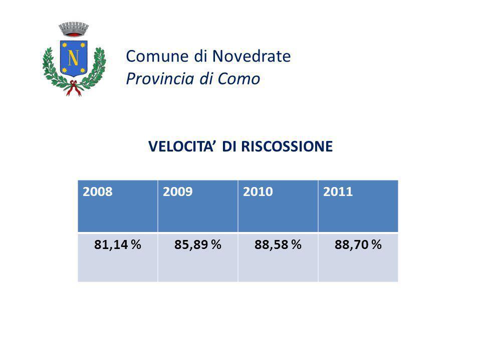 Comune di Novedrate Provincia di Como VELOCITA DI RISCOSSIONE 2008200920102011 81,14 %85,89 %88,58 %88,70 %