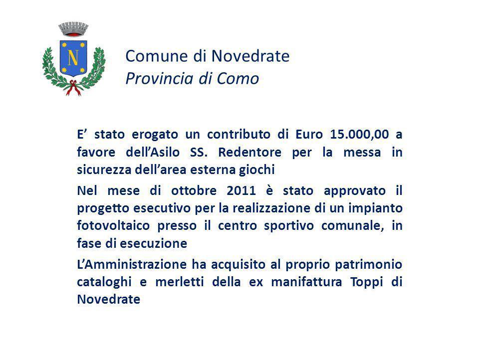 Comune di Novedrate Provincia di Como E stato erogato un contributo di Euro 15.000,00 a favore dellAsilo SS.