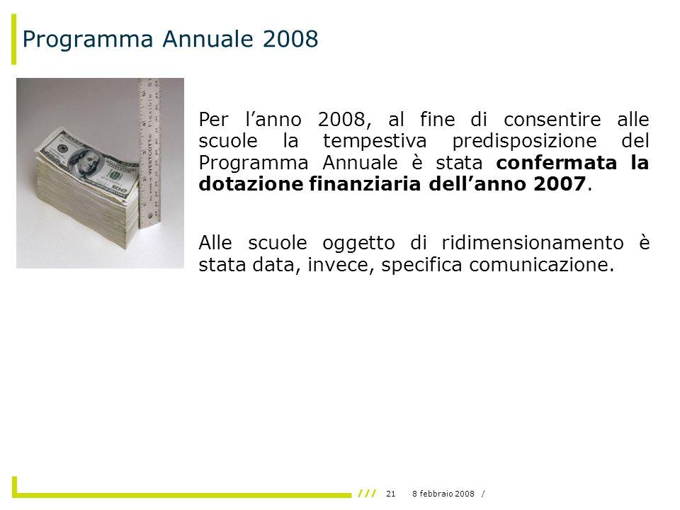 218 febbraio 2008 / Programma Annuale 2008 Per lanno 2008, al fine di consentire alle scuole la tempestiva predisposizione del Programma Annuale è stata confermata la dotazione finanziaria dellanno 2007.