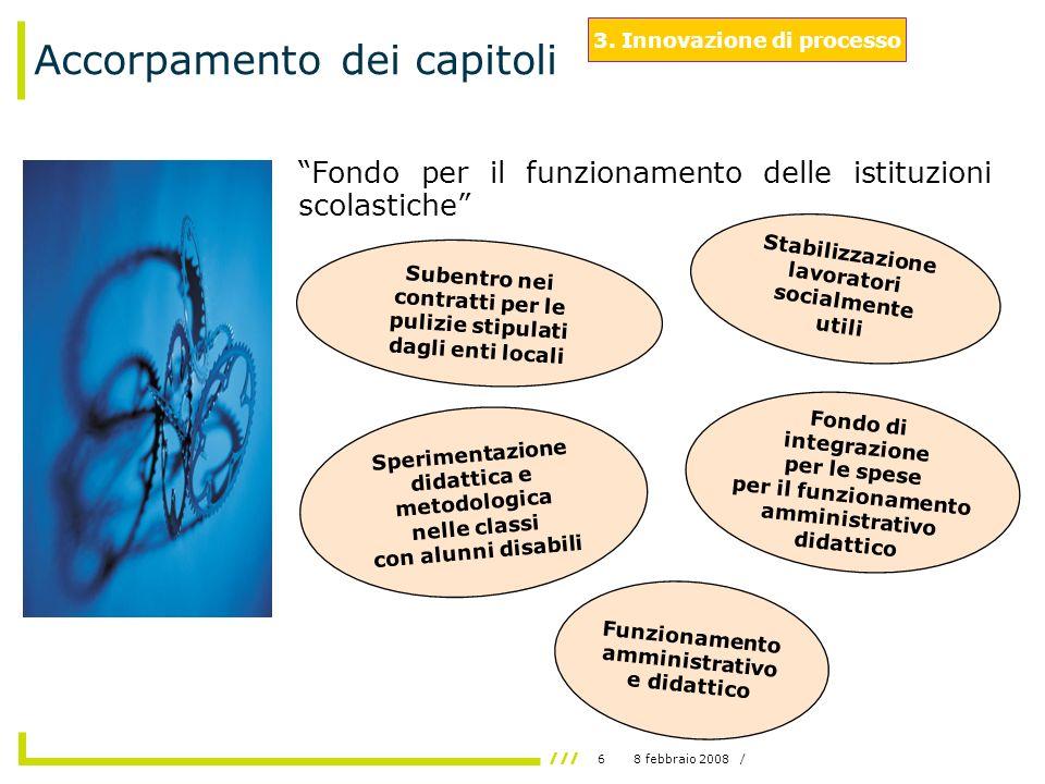 68 febbraio 2008 / Accorpamento dei capitoli Fondo per il funzionamento delle istituzioni scolastiche 3.