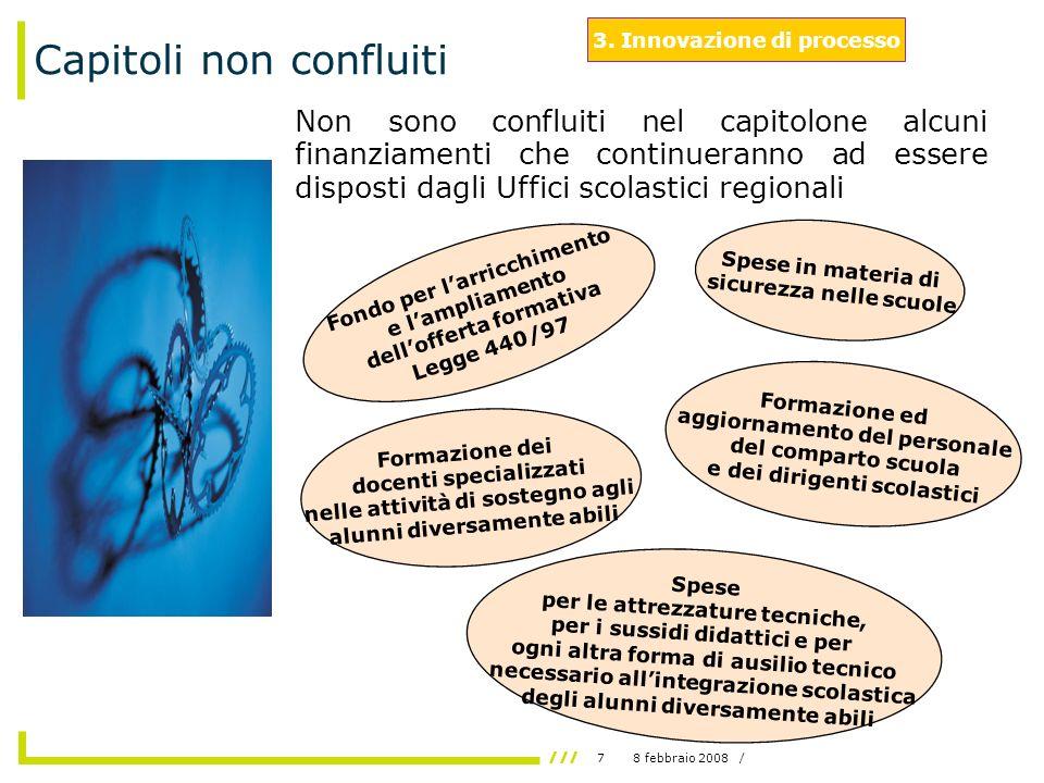 78 febbraio 2008 / Capitoli non confluiti Non sono confluiti nel capitolone alcuni finanziamenti che continueranno ad essere disposti dagli Uffici scolastici regionali 3.