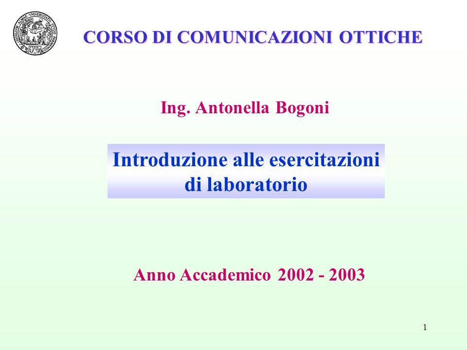 1 Ing. Antonella Bogoni CORSO DI COMUNICAZIONI OTTICHE Introduzione alle esercitazioni di laboratorio Anno Accademico 2002 - 2003