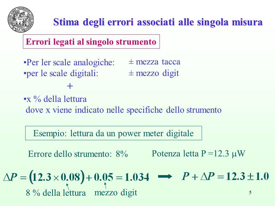 5 Stima degli errori associati alle singola misura Per ler scale analogiche: per le scale digitali: + x % della lettura dove x viene indicato nelle sp