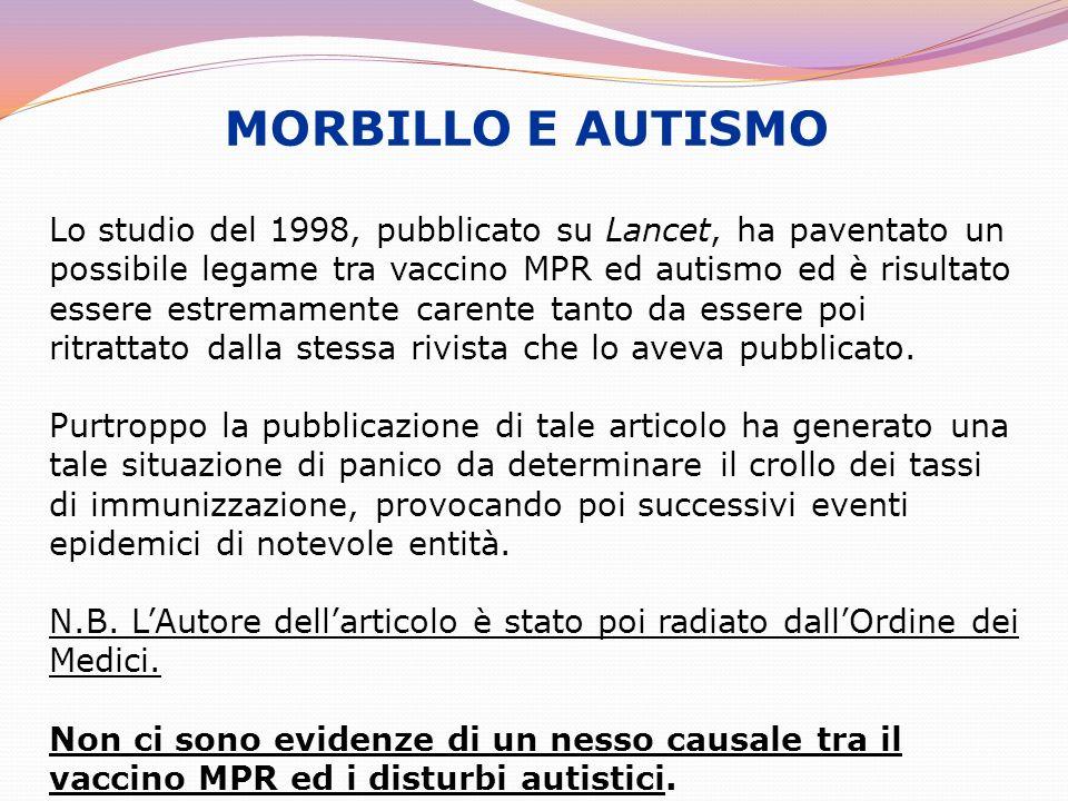 MORBILLO E AUTISMO Lo studio del 1998, pubblicato su Lancet, ha paventato un possibile legame tra vaccino MPR ed autismo ed è risultato essere estrema