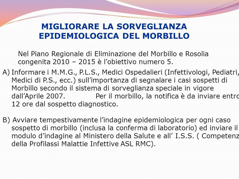MIGLIORARE LA SORVEGLIANZA EPIDEMIOLOGICA DEL MORBILLO Nel Piano Regionale di Eliminazione del Morbillo e Rosolia congenita 2010 – 2015 è lobiettivo n