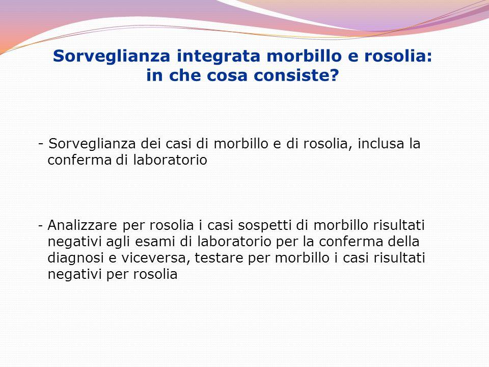 Sorveglianza integrata morbillo e rosolia: in che cosa consiste? - Sorveglianza dei casi di morbillo e di rosolia, inclusa la conferma di laboratorio