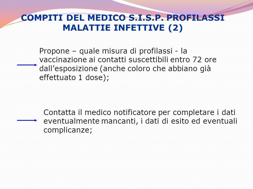 COMPITI DEL MEDICO S.I.S.P. PROFILASSI MALATTIE INFETTIVE (2) Propone – quale misura di profilassi - la vaccinazione ai contatti suscettibili entro 72