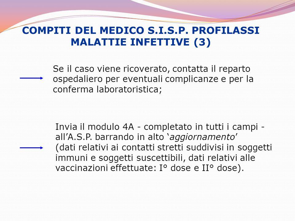 COMPITI DEL MEDICO S.I.S.P. PROFILASSI MALATTIE INFETTIVE (3) Se il caso viene ricoverato, contatta il reparto ospedaliero per eventuali complicanze e
