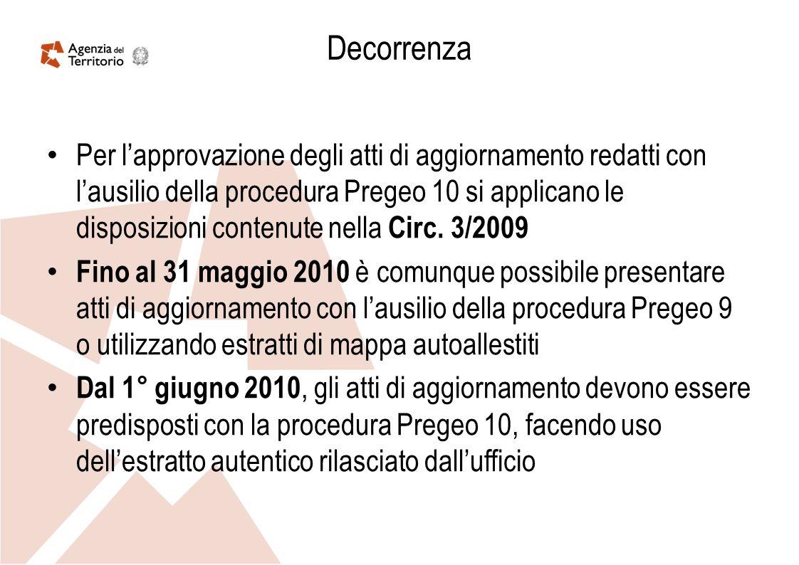 Decorrenza Per lapprovazione degli atti di aggiornamento redatti con lausilio della procedura Pregeo 10 si applicano le disposizioni contenute nella C