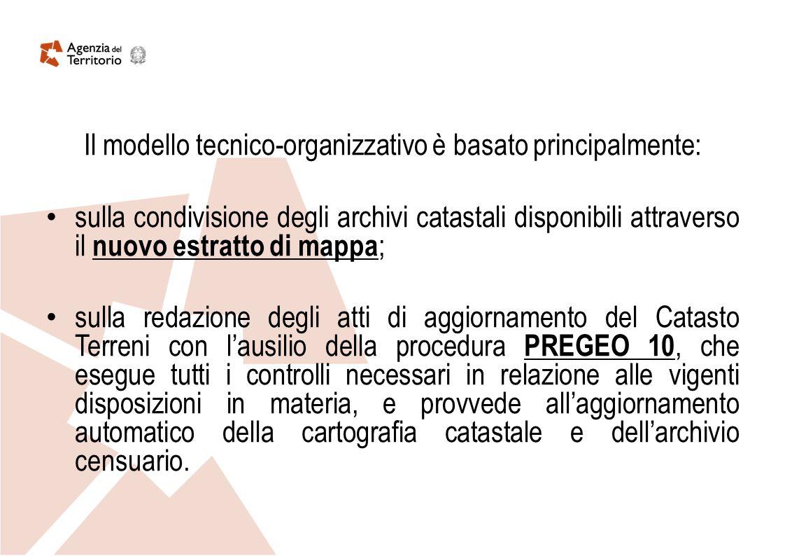 Il modello tecnico-organizzativo è basato principalmente: sulla condivisione degli archivi catastali disponibili attraverso il nuovo estratto di mappa