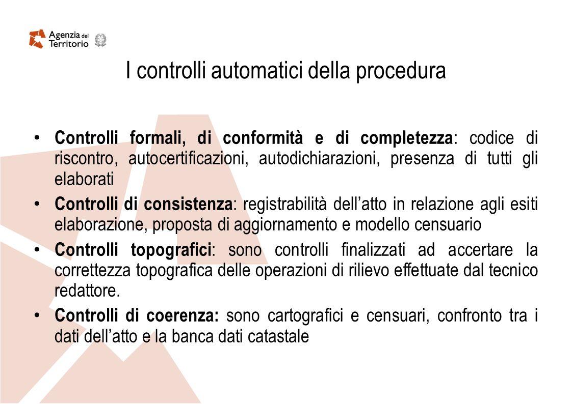 I controlli automatici della procedura Controlli formali, di conformità e di completezza : codice di riscontro, autocertificazioni, autodichiarazioni,