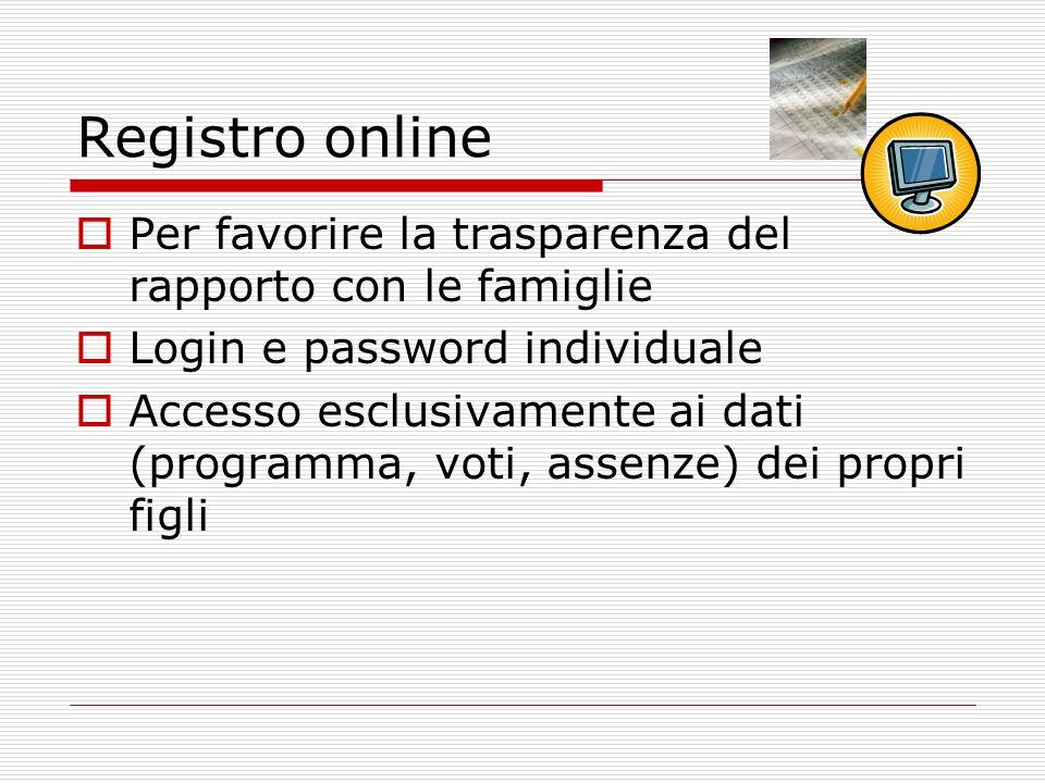 Registro online Per favorire la trasparenza del rapporto con le famiglie Login e password individuale Accesso esclusivamente ai dati (programma, voti, assenze) dei propri figli
