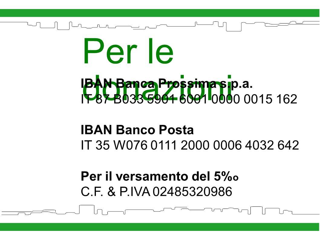 Per le donazioni IBAN Banca Prossima s.p.a.