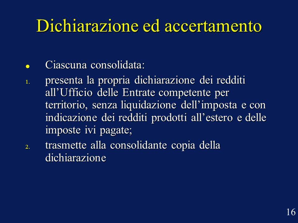 Dichiarazione ed accertamento Ciascuna consolidata: Ciascuna consolidata: 1. presenta la propria dichiarazione dei redditi allUfficio delle Entrate co