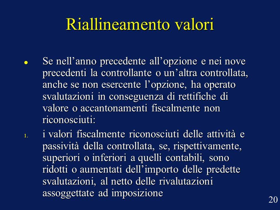Riallineamento valori Se nellanno precedente allopzione e nei nove precedenti la controllante o unaltra controllata, anche se non esercente lopzione,