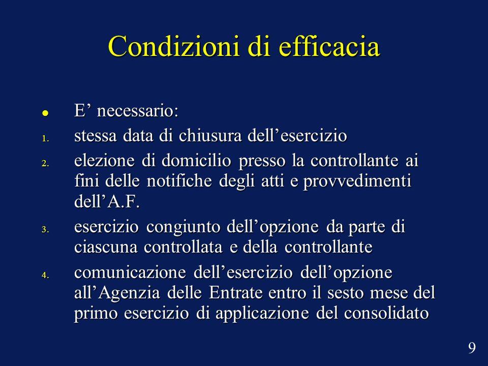 Condizioni di efficacia E necessario: E necessario: 1.