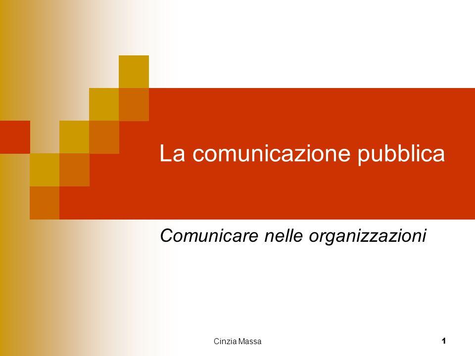 Cinzia Massa 1 La comunicazione pubblica Comunicare nelle organizzazioni