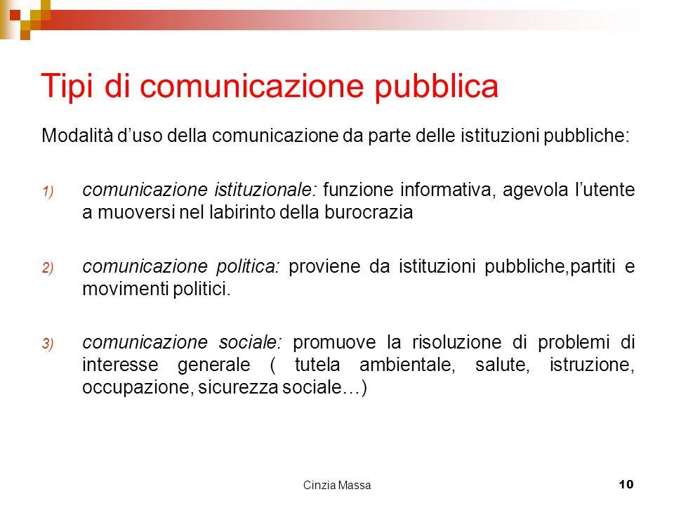 Cinzia Massa10 Tipi di comunicazione pubblica Modalità duso della comunicazione da parte delle istituzioni pubbliche: 1) comunicazione istituzionale: