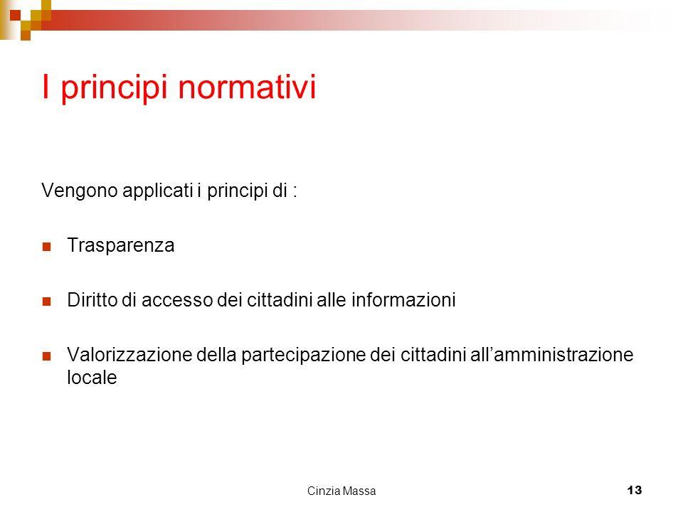 Cinzia Massa13 I principi normativi Vengono applicati i principi di : Trasparenza Diritto di accesso dei cittadini alle informazioni Valorizzazione de