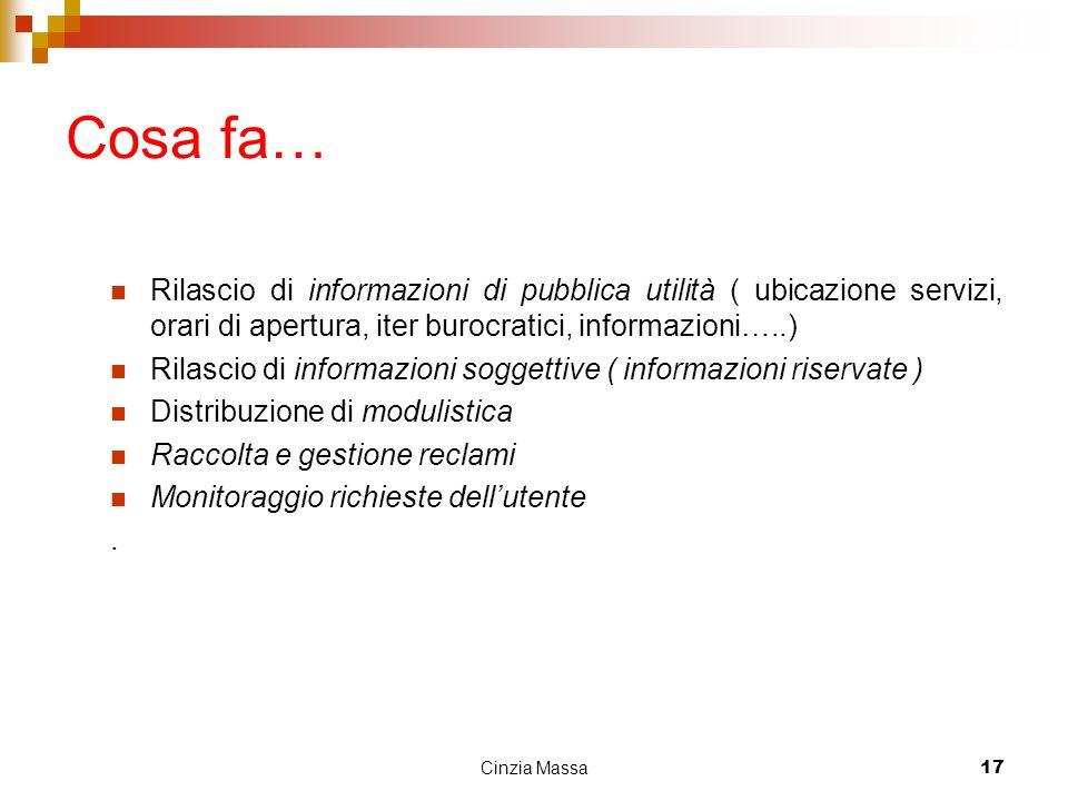 Cinzia Massa17 Cosa fa… Rilascio di informazioni di pubblica utilità ( ubicazione servizi, orari di apertura, iter burocratici, informazioni…..) Rilas