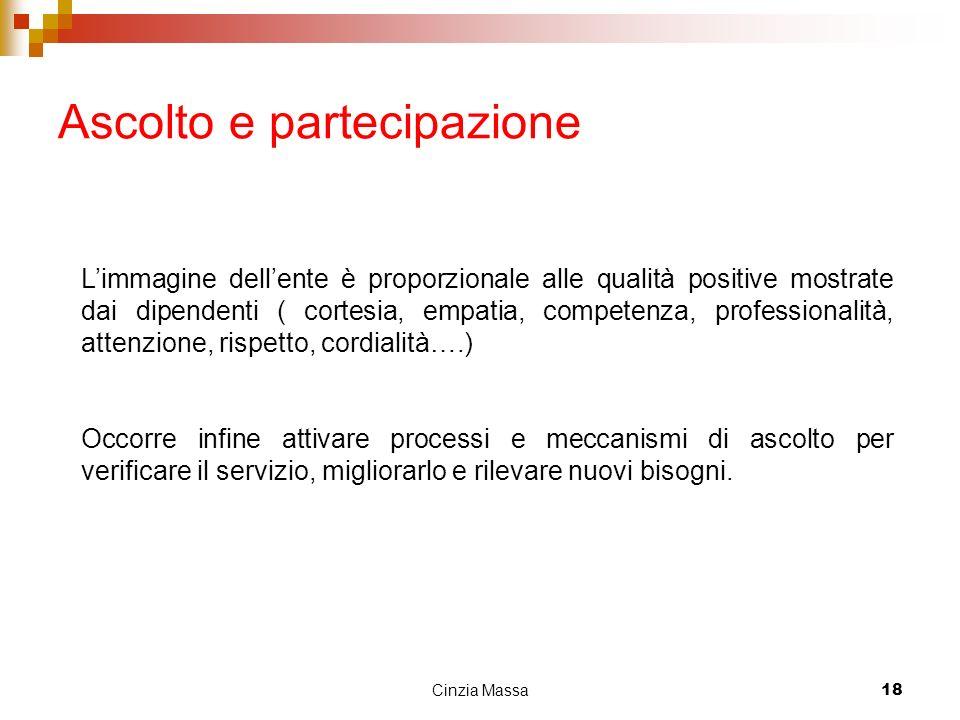 Cinzia Massa18 Ascolto e partecipazione Limmagine dellente è proporzionale alle qualità positive mostrate dai dipendenti ( cortesia, empatia, competen