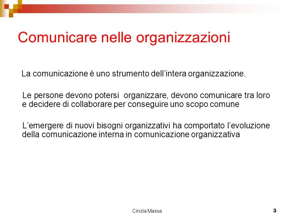 Cinzia Massa3 Comunicare nelle organizzazioni La comunicazione è uno strumento dellintera organizzazione. Le persone devono potersi organizzare, devon
