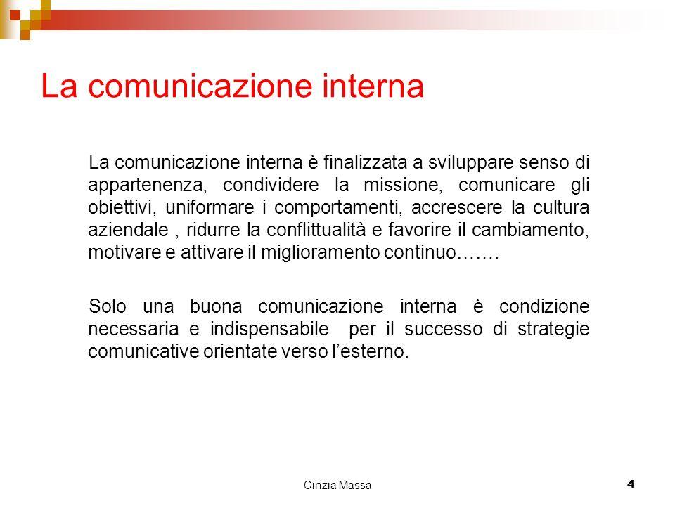 Cinzia Massa4 La comunicazione interna La comunicazione interna è finalizzata a sviluppare senso di appartenenza, condividere la missione, comunicare