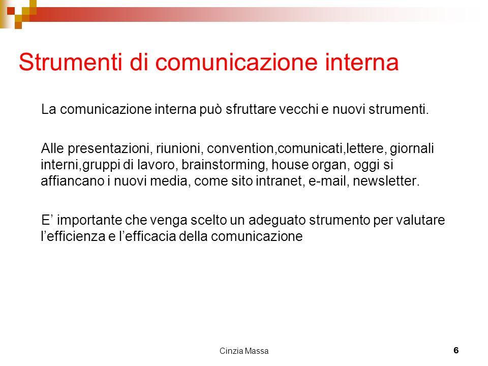 Cinzia Massa6 Strumenti di comunicazione interna La comunicazione interna può sfruttare vecchi e nuovi strumenti. Alle presentazioni, riunioni, conven