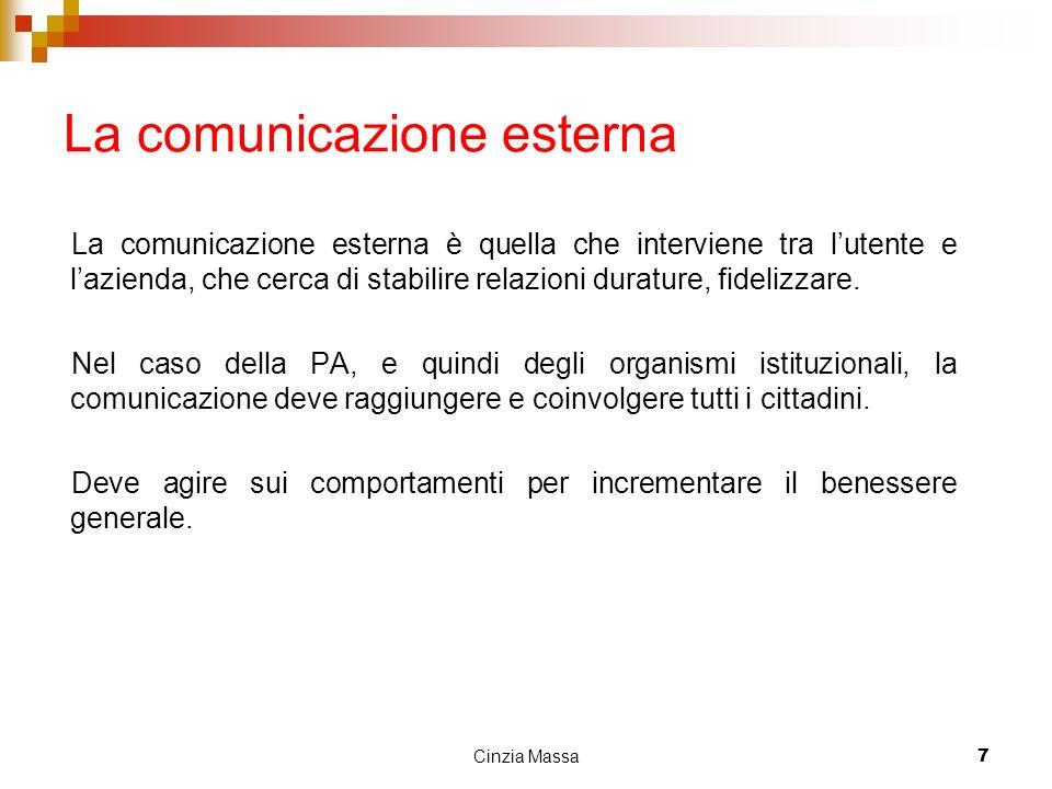 Cinzia Massa7 La comunicazione esterna La comunicazione esterna è quella che interviene tra lutente e lazienda, che cerca di stabilire relazioni durat