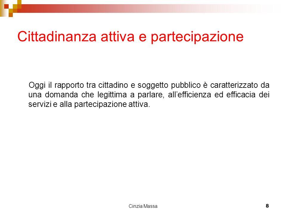 Cinzia Massa8 Cittadinanza attiva e partecipazione Oggi il rapporto tra cittadino e soggetto pubblico è caratterizzato da una domanda che legittima a