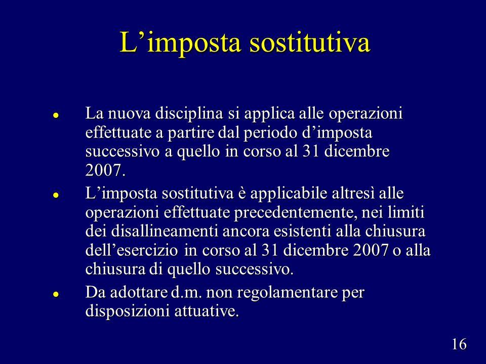 Limposta sostitutiva La nuova disciplina si applica alle operazioni effettuate a partire dal periodo dimposta successivo a quello in corso al 31 dicembre 2007.