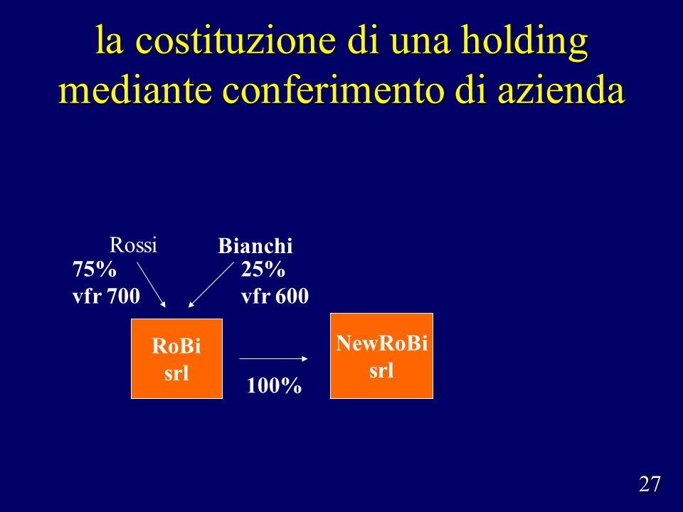 la costituzione di una holding mediante conferimento di azienda Rossi Bianchi 75% vfr 700 25% vfr 600 NewRoBi srl 100% RoBi srl 27