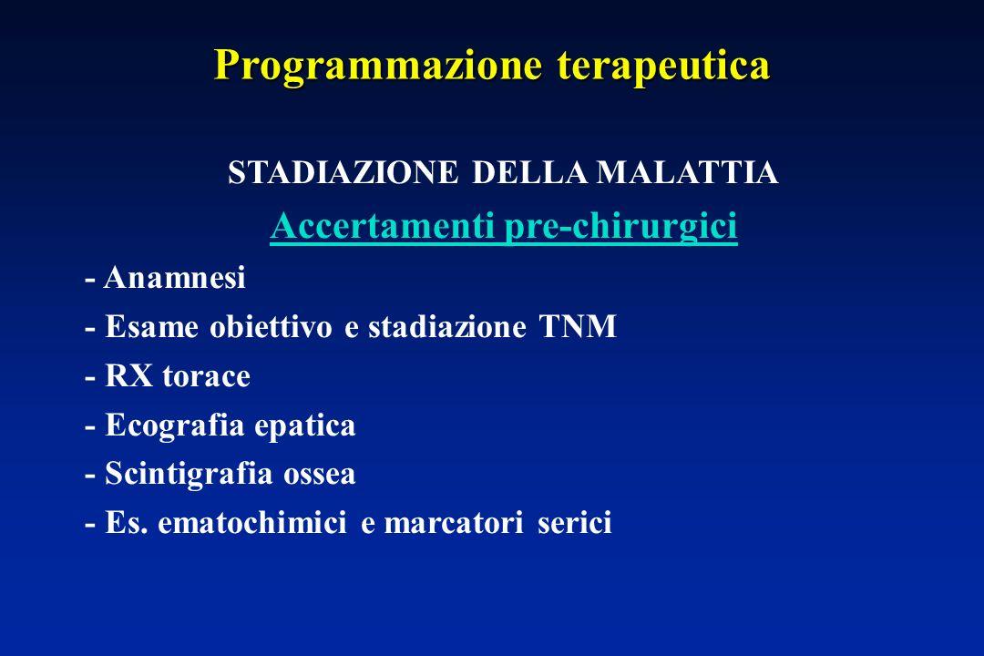 Programmazione terapeutica STADIAZIONE DELLA MALATTIA Accertamenti pre-chirurgici - Anamnesi - Esame obiettivo e stadiazione TNM - RX torace - Ecografia epatica - Scintigrafia ossea - Es.