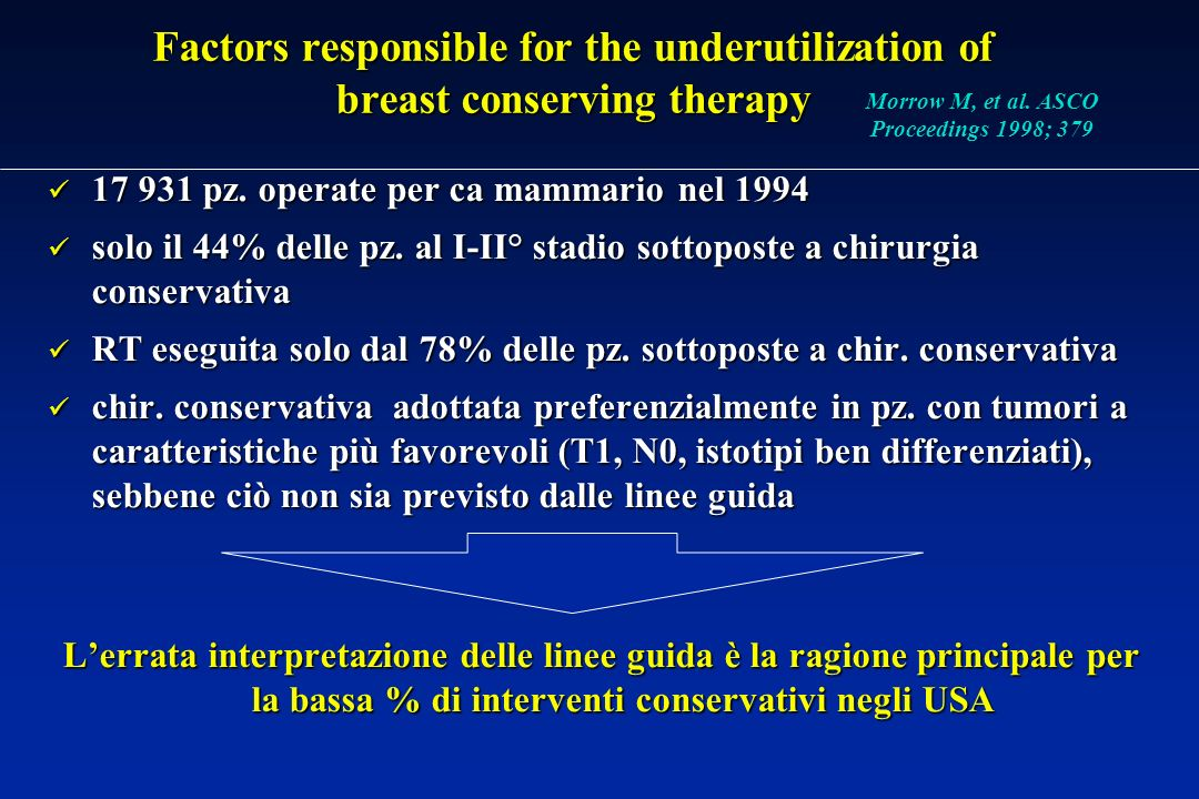 Factors responsible for the underutilization of breast conserving therapy 17 931 pz.