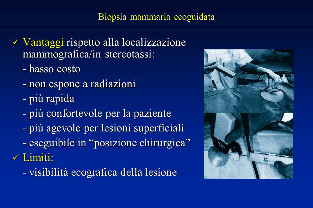 Biopsia mammaria ecoguidata Vantaggi rispetto alla localizzazione mammografica/in stereotassi: Vantaggi rispetto alla localizzazione mammografica/in stereotassi: - basso costo - non espone a radiazioni - più rapida - più confortevole per la paziente - più agevole per lesioni superficiali - eseguibile in posizione chirurgica Limiti: Limiti: - visibilità ecografica della lesione