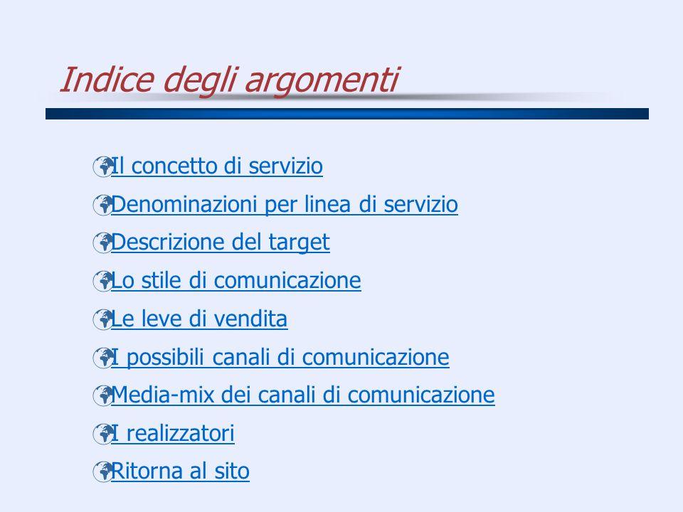 Indice degli argomenti Il concetto di servizio Denominazioni per linea di servizio Descrizione del target Lo stile di comunicazione Le leve di vendita