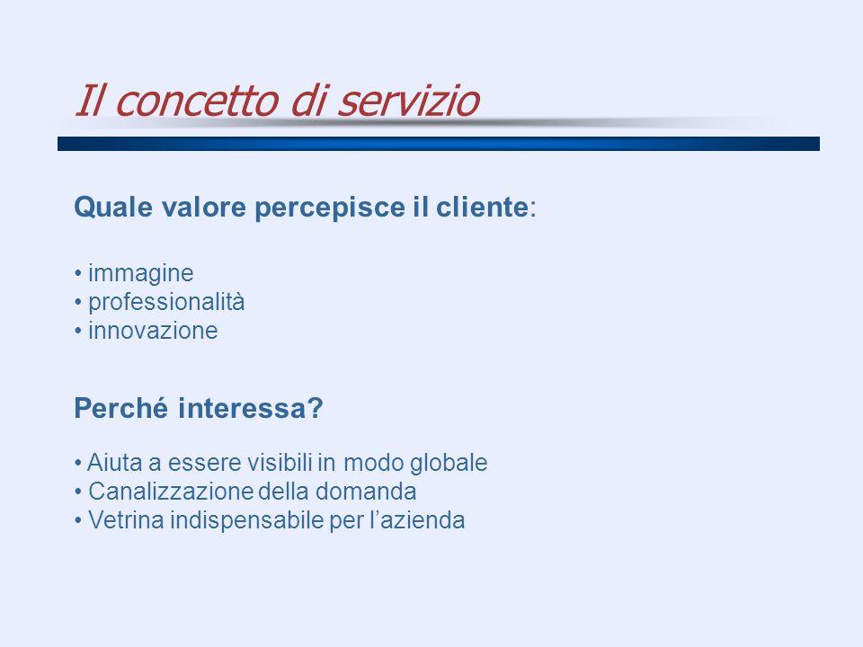 Il concetto di servizio Quale valore percepisce il cliente: immagine professionalità innovazione Perché interessa? Aiuta a essere visibili in modo glo