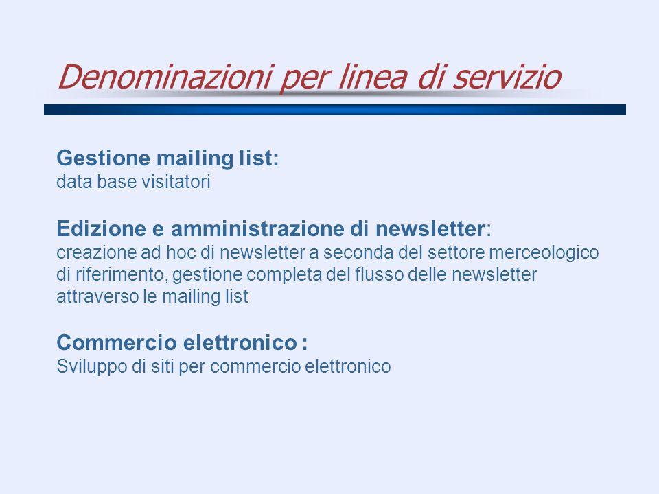 Denominazioni per linea di servizio Gestione mailing list: data base visitatori Edizione e amministrazione di newsletter: creazione ad hoc di newslett