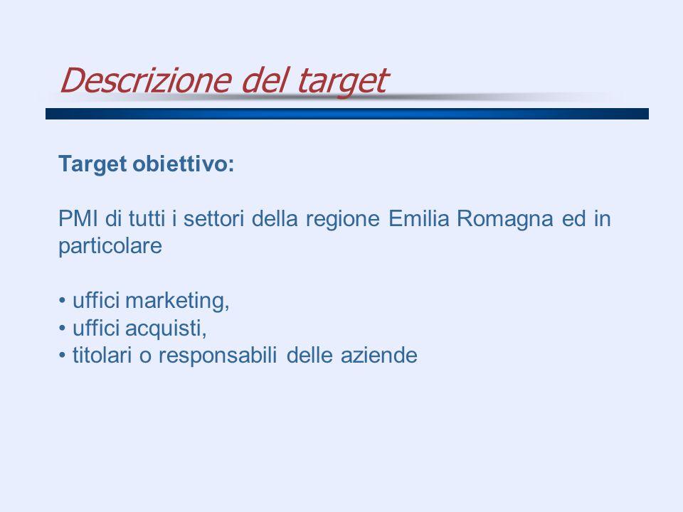 Descrizione del target Target obiettivo: PMI di tutti i settori della regione Emilia Romagna ed in particolare uffici marketing, uffici acquisti, tito