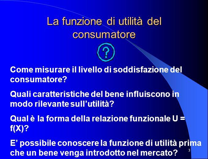 3 La funzione di utilità del consumatore Come misurare il livello di soddisfazione del consumatore? Quali caratteristiche del bene influiscono in modo