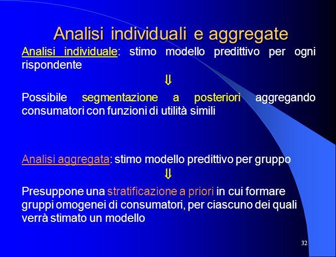 32 Analisi individuali e aggregate Analisi individuale: stimo modello predittivo per ogni rispondente Possibile segmentazione a posteriori aggregando
